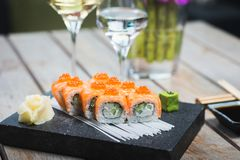 Roll set served on a plate Royalty Free Stock Photo