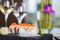 Roll set served on a plate Royalty Free Stock Photos