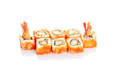 Roll, shrimp tempura, spicy sauce, cucumber royalty free stock photo