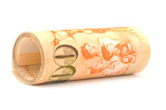Roll of singapore dollar notes Stock Photography