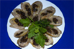 Roll slices from chicken with prunes Stock Photography