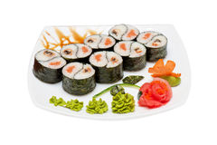 Roll with smoked eel and salmon Stock Photography