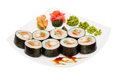 Roll with smoked eel and salmon Stock Photo