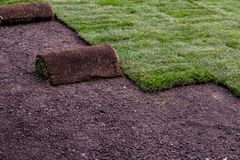 Landscaping work - roll of sod. Roll of sod on landscaping lawn sod installation work site royalty free stock photos