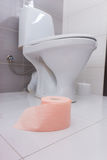 Roll of soft pink toilet paper in a bathroom Stock Photo