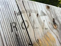 Roll Stamp on Wood Stock Images