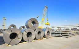Roll steel in harbor Stock Photos