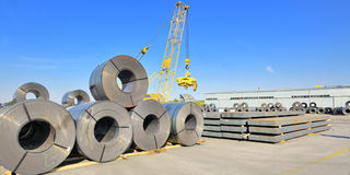 Roll steel in harbor Royalty Free Stock Photo
