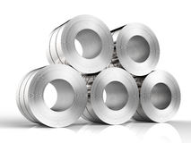 Roll of steel sheet. 3d rendering roll of steel sheet on white background Royalty Free Stock Photos