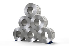 Roll of steel sheet in factory. 3d rendering roll of steel sheet in factory stock photography