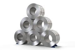 Roll of steel sheet in factory. 3d rendering roll of steel sheet in factory Stock Photography
