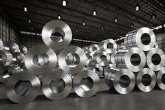 Roll of steel sheet in factory. 3d rendering roll of steel sheet in factory Royalty Free Stock Photos