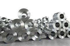 Roll of steel sheet in factory. 3d rendering roll of steel sheet in factory royalty free stock photos