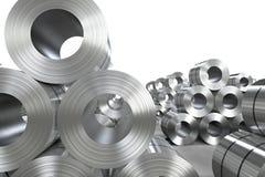 Roll of steel sheet in factory. 3d rendering roll of steel sheet in factory Stock Photo