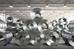 Roll of steel sheet in factory. 3d rendering roll of steel sheet in factory Royalty Free Stock Image