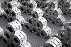 Roll of steel sheet in factory. 3d rendering roll of steel sheet in factory Royalty Free Stock Photo