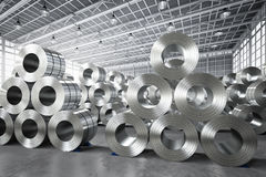 Roll of steel sheet in factory. 3d rendering roll of steel sheet in factory Stock Photo