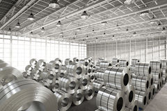 Roll of steel sheet in factory. 3d rendering roll of steel sheet in factory Stock Images