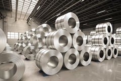 Roll of steel sheet in factory. 3d rendering roll of steel sheet in factory Royalty Free Stock Images