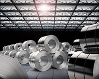 Roll of steel sheets in factory. 3d rendering heap of roll of steel sheets in factory Royalty Free Stock Photo