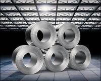 Roll of steel sheets in factory. 3d rendering heap of roll of steel sheets in factory Royalty Free Stock Image