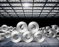 Roll of steel sheets in factory. 3d rendering heap of roll of steel sheets in factory Royalty Free Stock Photos