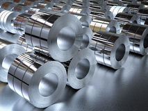 Roll of steel sheets in factory. 3d rendering heap of roll of steel sheets in factory Royalty Free Stock Images