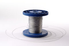 Roll of steel wire. On a white background Stock Image