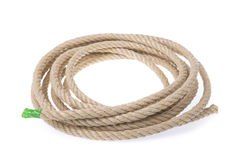 A roll of sturdy rope material. Twisted into a circle. Royalty Free Stock Photography