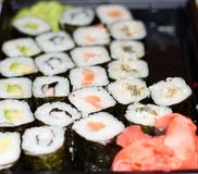 Roll and sushi Stock Images