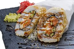Roll tempura spicy chicken and avocado royalty free stock photography