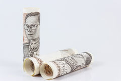 Roll of thai banknotes Stock Photography