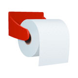 Roll of toilet paper with embossed, in a plastic red wall holder Royalty Free Stock Photos