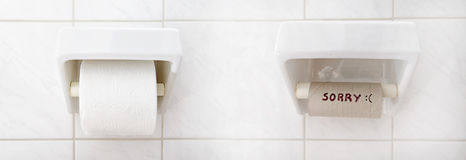 Roll of toilet paper. Roll of toilet paper in the toilet. Full and empty Stock Images