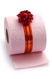 Roll of toilet paper on gift Stock Images