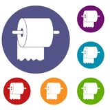 Roll of toilet paper on holder icons set Royalty Free Stock Images