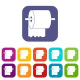 Roll of toilet paper on holder icons set flat Royalty Free Stock Image