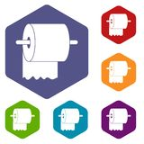 Roll of toilet paper on holder icons set hexagon Stock Image