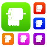 Roll of toilet paper on holder set color collection Stock Images