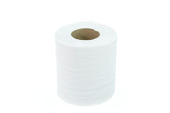 Roll of toilet paper isolated on white Stock Photography