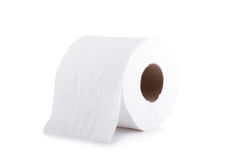 Roll Of Toilet Paper Isolated On White Background. Roll Of Toilet Paper Isolated On White Background Stock Photo