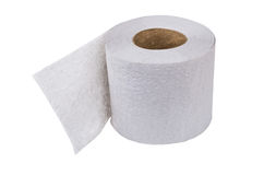 Roll of toilet paper isolated on white Stock Images