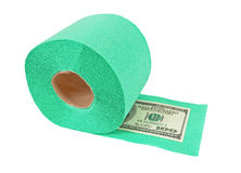 Roll of toilet paper and money Royalty Free Stock Image