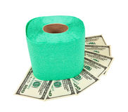 Roll of toilet paper and money Royalty Free Stock Photo