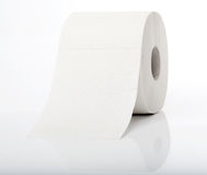 Roll of toilet paper with reflection. Simple roll of no name toilet paper Stock Image
