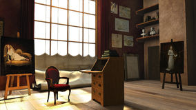 Roll top desk and secretary  Studio in Paris. Go back in time to this Baroque Studio in Paris.  This is a 3d replica of a painter's Portrait Studio Royalty Free Stock Photo