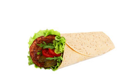 Roll tortilla with meat Stock Photos