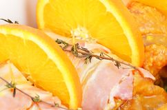Roll from turkey-cock meat and orange. DOF royalty free stock photos