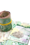 Roll of twenty Canadian dollars Stock Photo