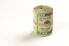 Roll of Twenty Dollar Bills Stock Image